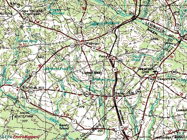 Zip code 29137 topographic map