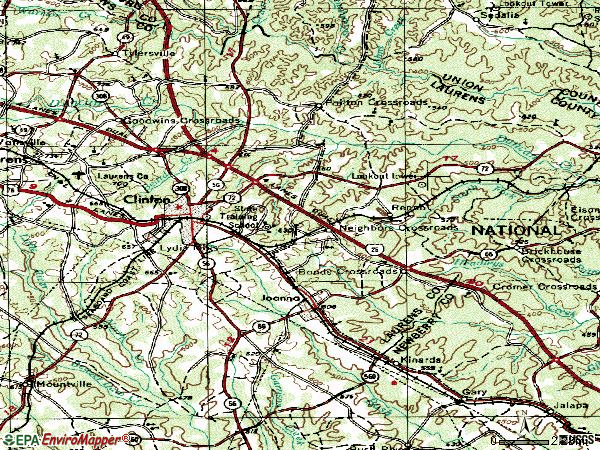 Zip code 29325 topographic map