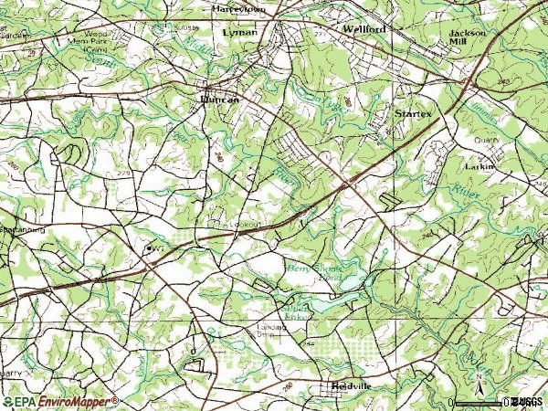 Zip code 29334 topographic map