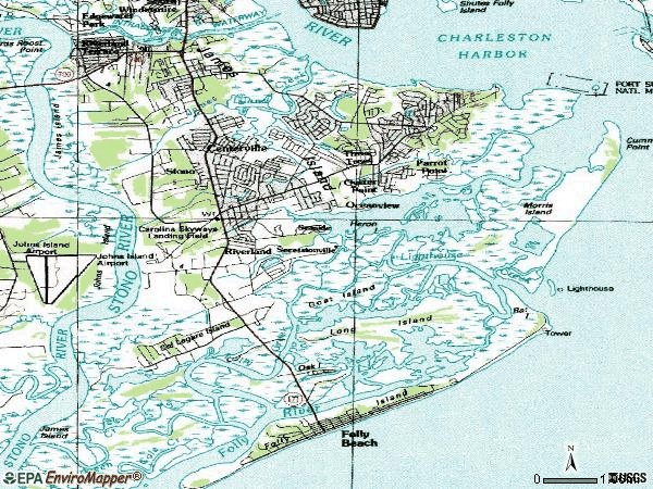 Zip code 29412 topographic map