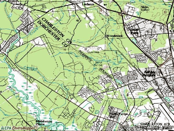 Zip code 29420 topographic map