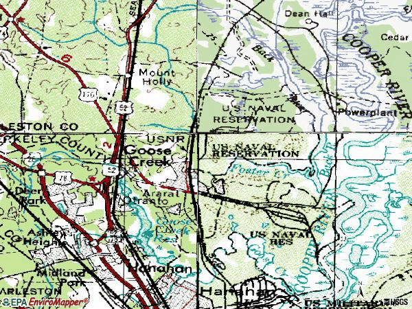 Zip code 29445 topographic map