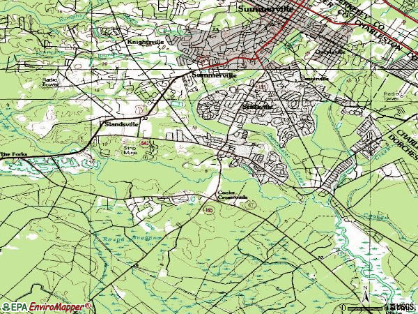 Zip code 29485 topographic map