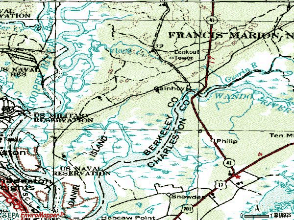 Zip code 29492 topographic map