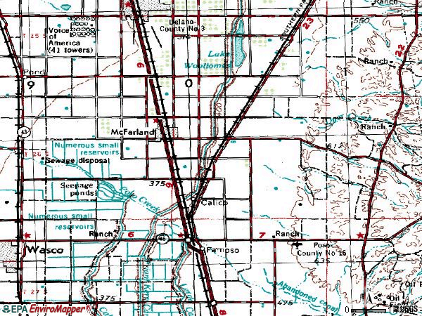 Zip code 93250 topographic map