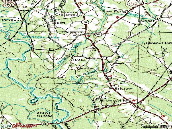 Zip code 29516 topographic map