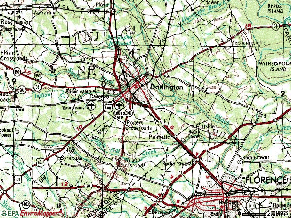 Zip code 29532 topographic map