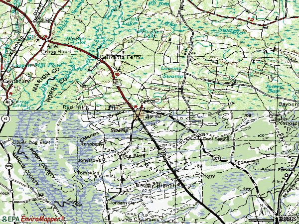 Zip code 29544 topographic map