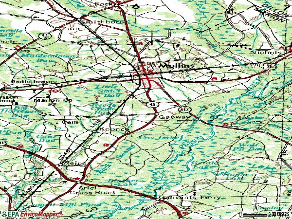 Zip code 29574 topographic map