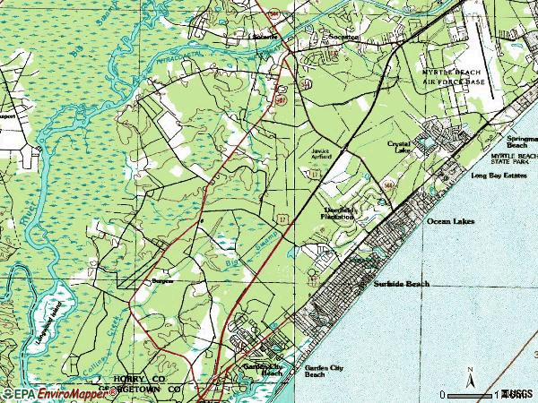 Zip code 29575 topographic map