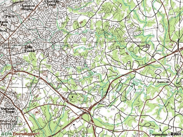 Zip code 29615 topographic map