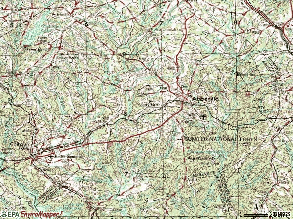 Zip code 29620 topographic map