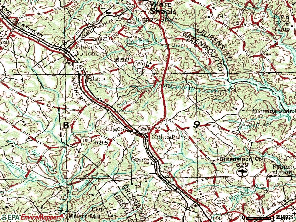 Zip code 29653 topographic map
