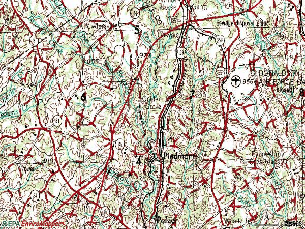 Zip code 29673 topographic map