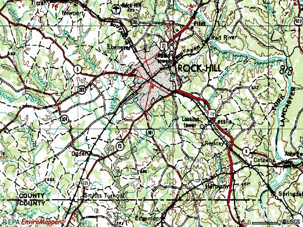 Zip code 29730 topographic map
