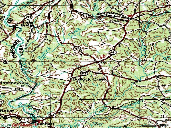 Zip code 29742 topographic map