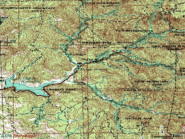 Zip code 93271 topographic map