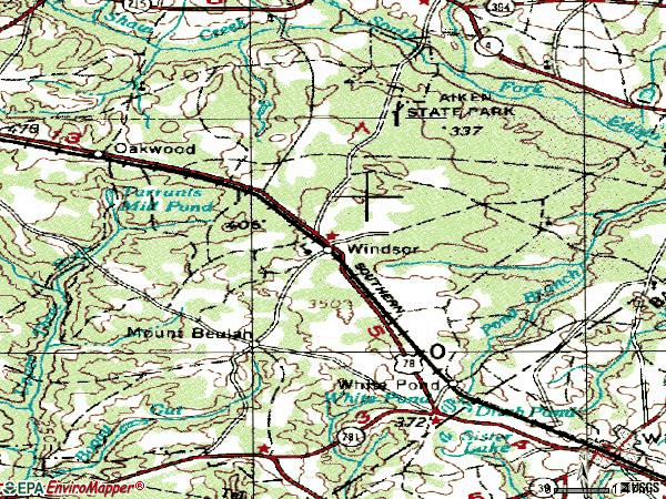 Zip code 29856 topographic map