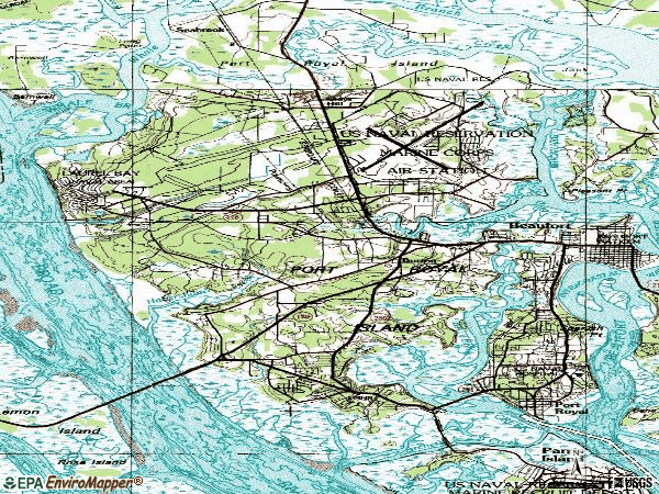 Zip code 29906 topographic map