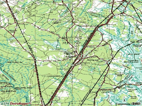Zip code 29936 topographic map