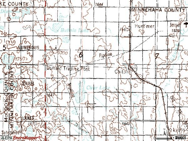Zip code 57018 topographic map