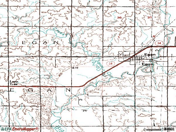 Zip code 57024 topographic map
