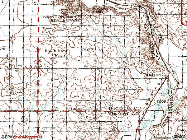 Zip code 57034 topographic map