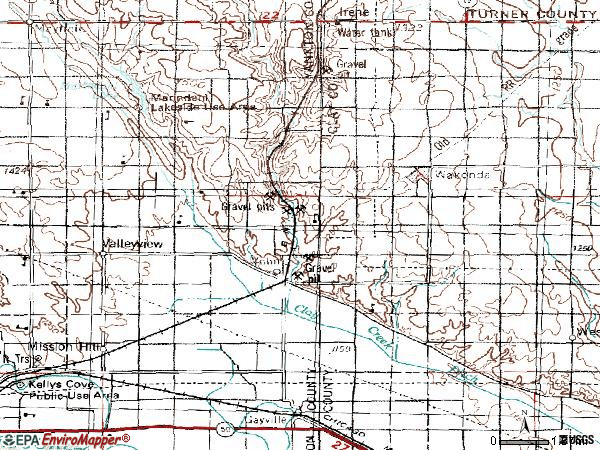 Zip code 57072 topographic map