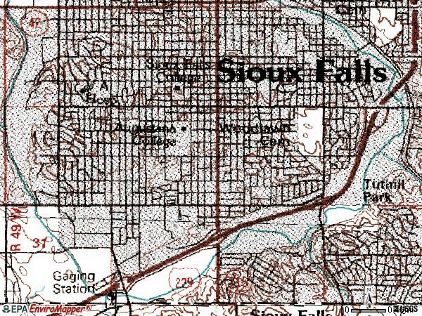 Zip code 57105 topographic map