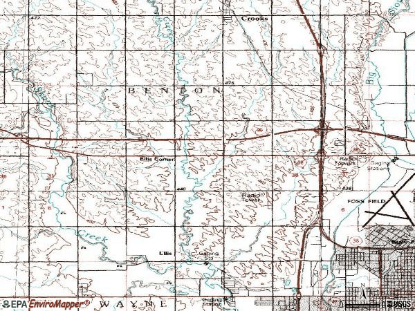 Zip code 57107 topographic map