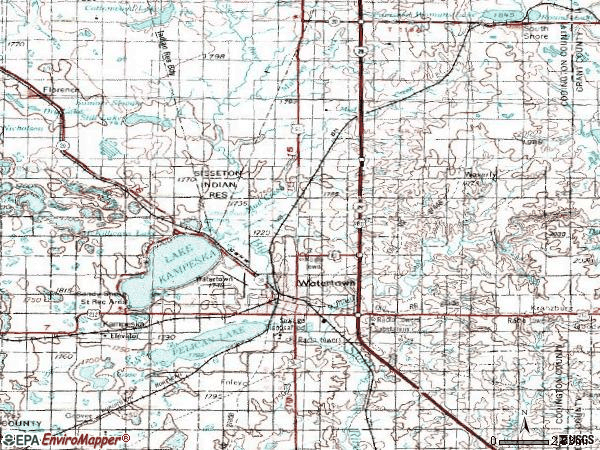 Zip code 57201 topographic map