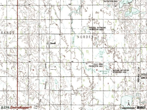 Zip code 57218 topographic map