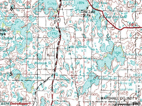 Zip code 57232 topographic map