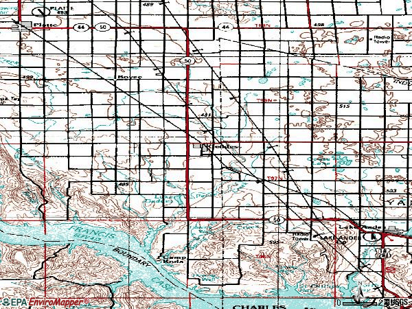Zip code 57342 topographic map