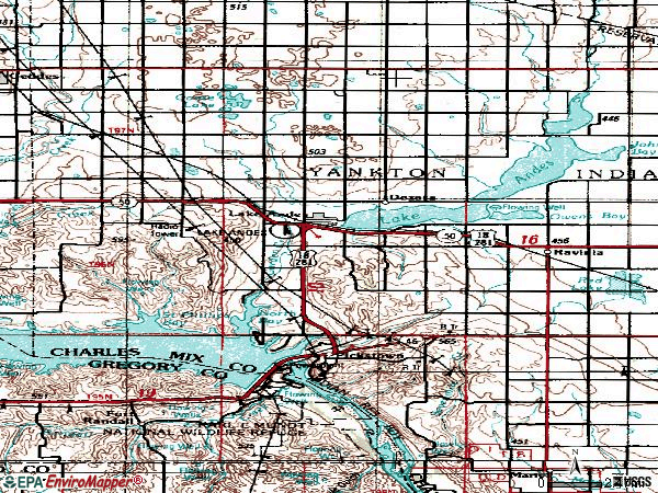 Zip code 57356 topographic map