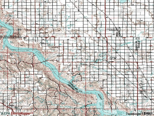 Zip code 57369 topographic map