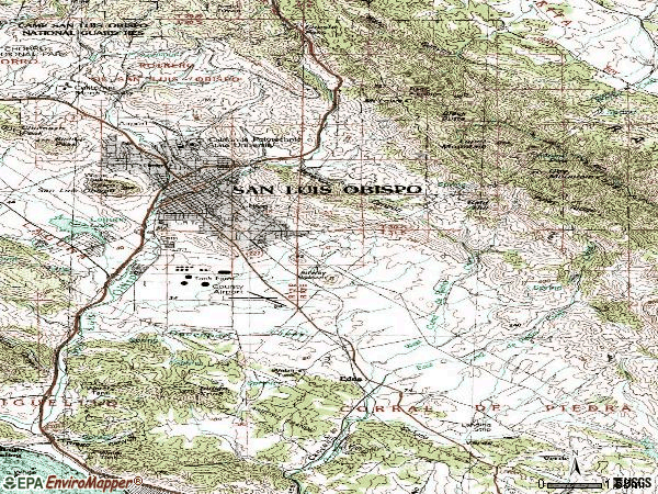 Zip code 93401 topographic map