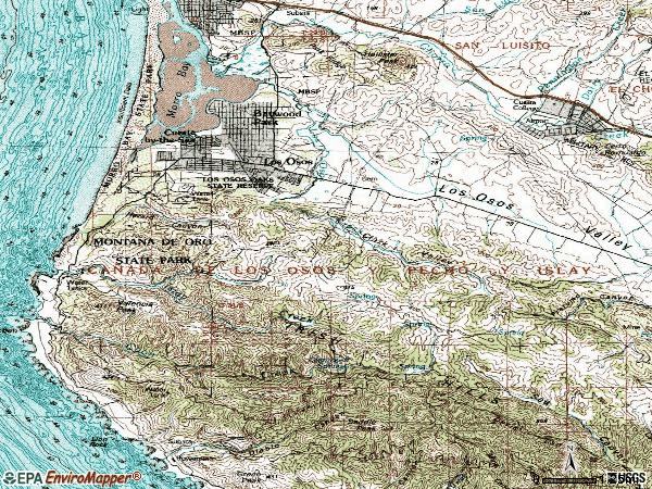 Zip code 93402 topographic map