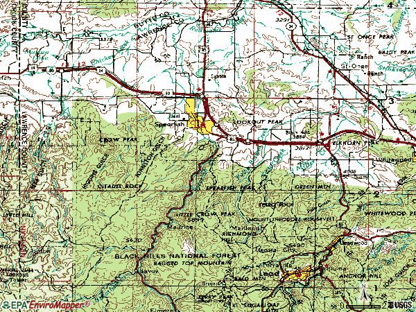 Zip code 57783 topographic map