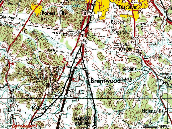 Zip code 37027 topographic map