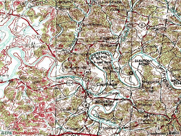 Zip code 37030 topographic map
