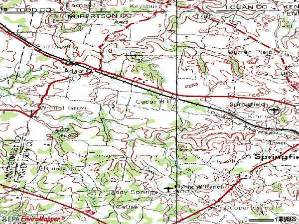 Zip code 37032 topographic map
