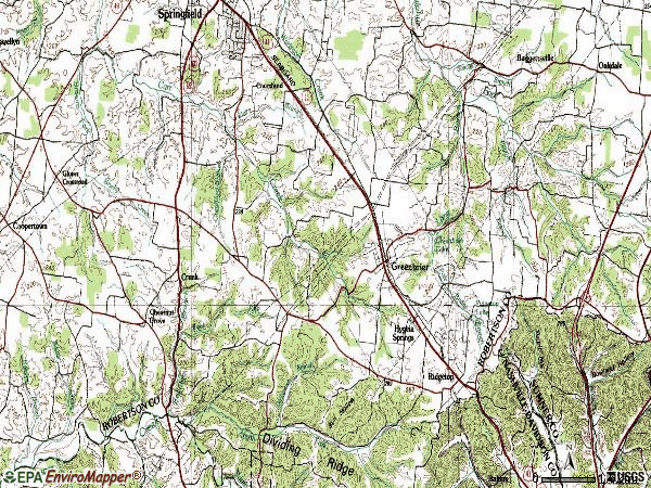 Zip code 37073 topographic map