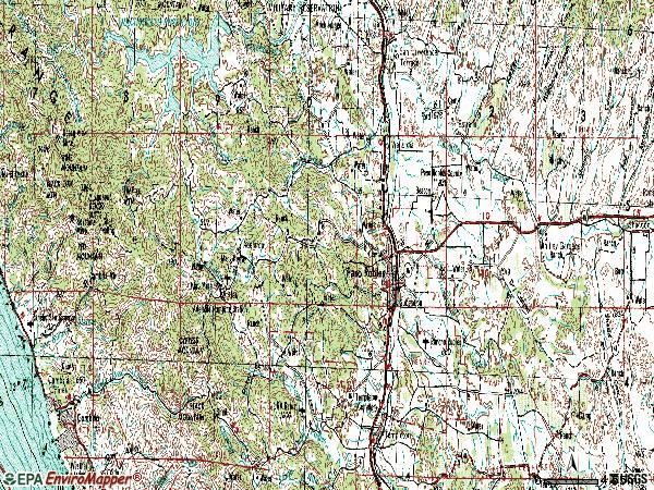 Zip code 93446 topographic map