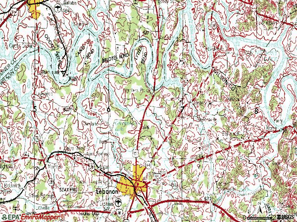 Zip code 37087 topographic map