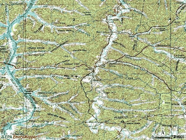 Zip code 37096 topographic map