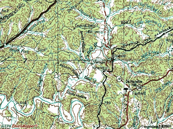 Zip code 37137 topographic map