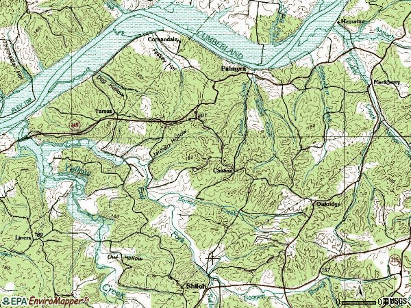 Zip code 37142 topographic map