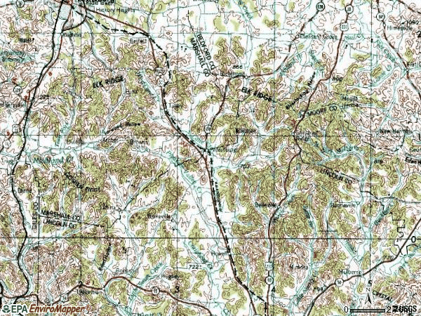 Zip code 37144 topographic map