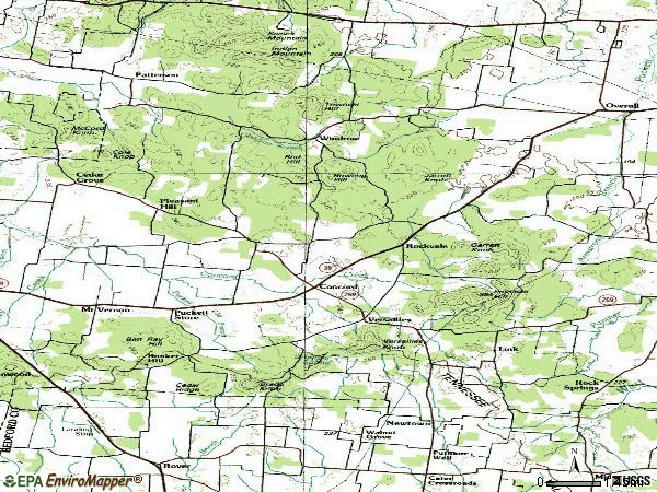 Zip code 37153 topographic map